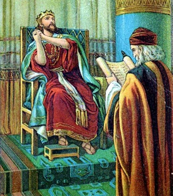 2 Kings 22: Hilkiah the High Priest Found the Book of the Law and Shaphan the Scribe Read it to King Josiah.
