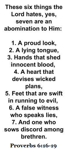 Proverbs 6: Seven Deadly Sins.